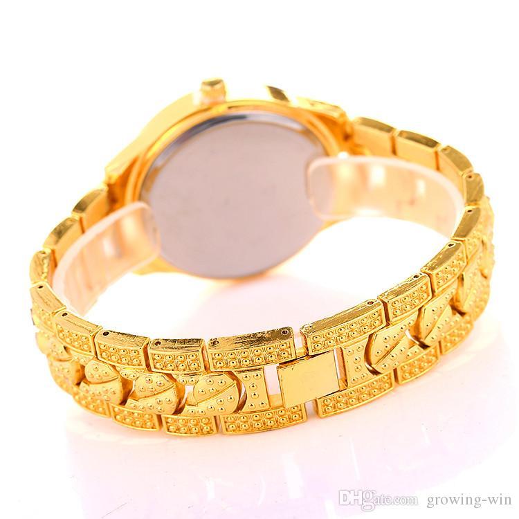 2018 Mulheres De Luxo Mulheres geneva liga de diamantes metal Aço Inoxidável Relógio de moda senhora vestido Roma quartzo partido Relógios de pulso