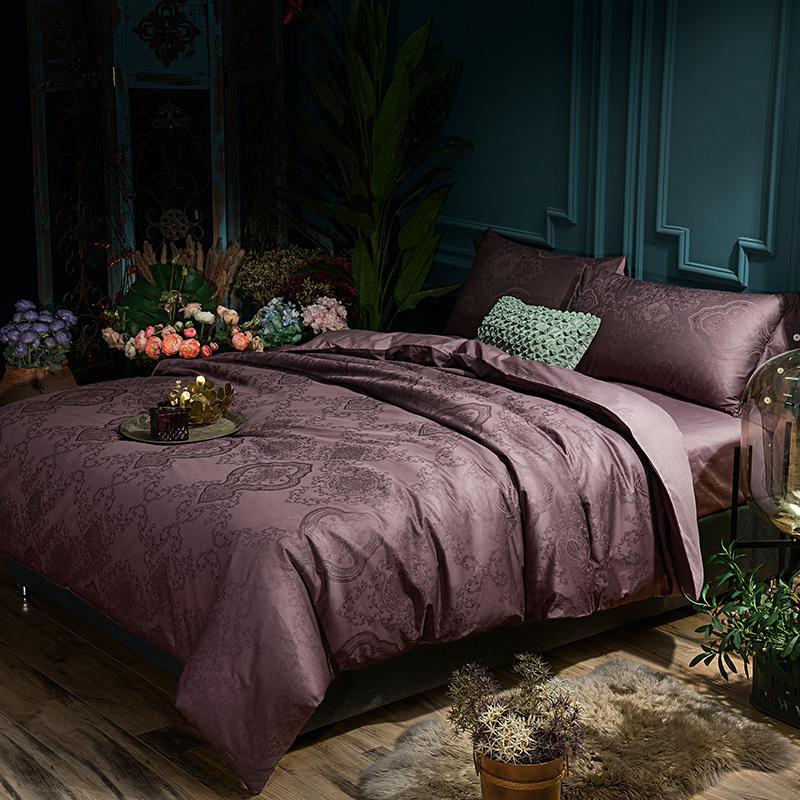 Acheter Purple Golden Oriental Ensemble De Literie De Luxe Jacquard