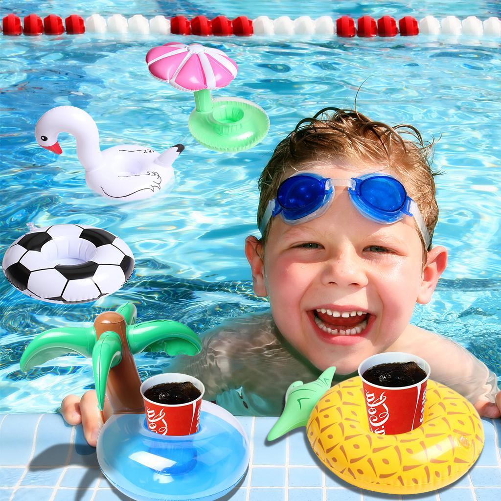 Portabotellas inflables 5 piezas flotadores de bebidas inflables posavasos de la copa para la piscina PartyKids juguetes para el baño Swan, fútbol, piña, palmera, hongos