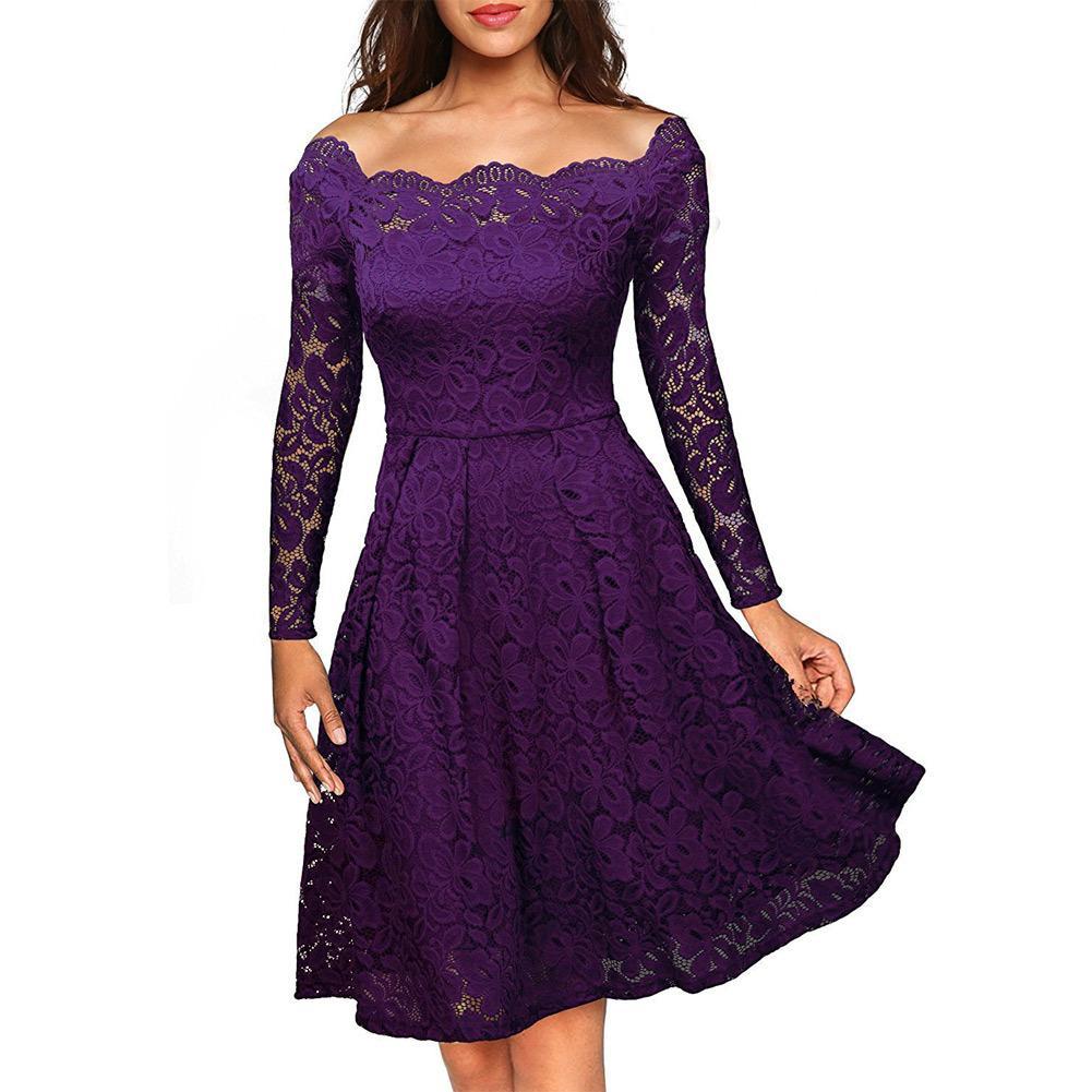 84e0c9e6469e4 2017 Summer Sexy Women Floral Lace Dress Off Shoulder Long Sleeve A line  Dress Boat Neck Elegant Party Swing Dresses XL Vestidos