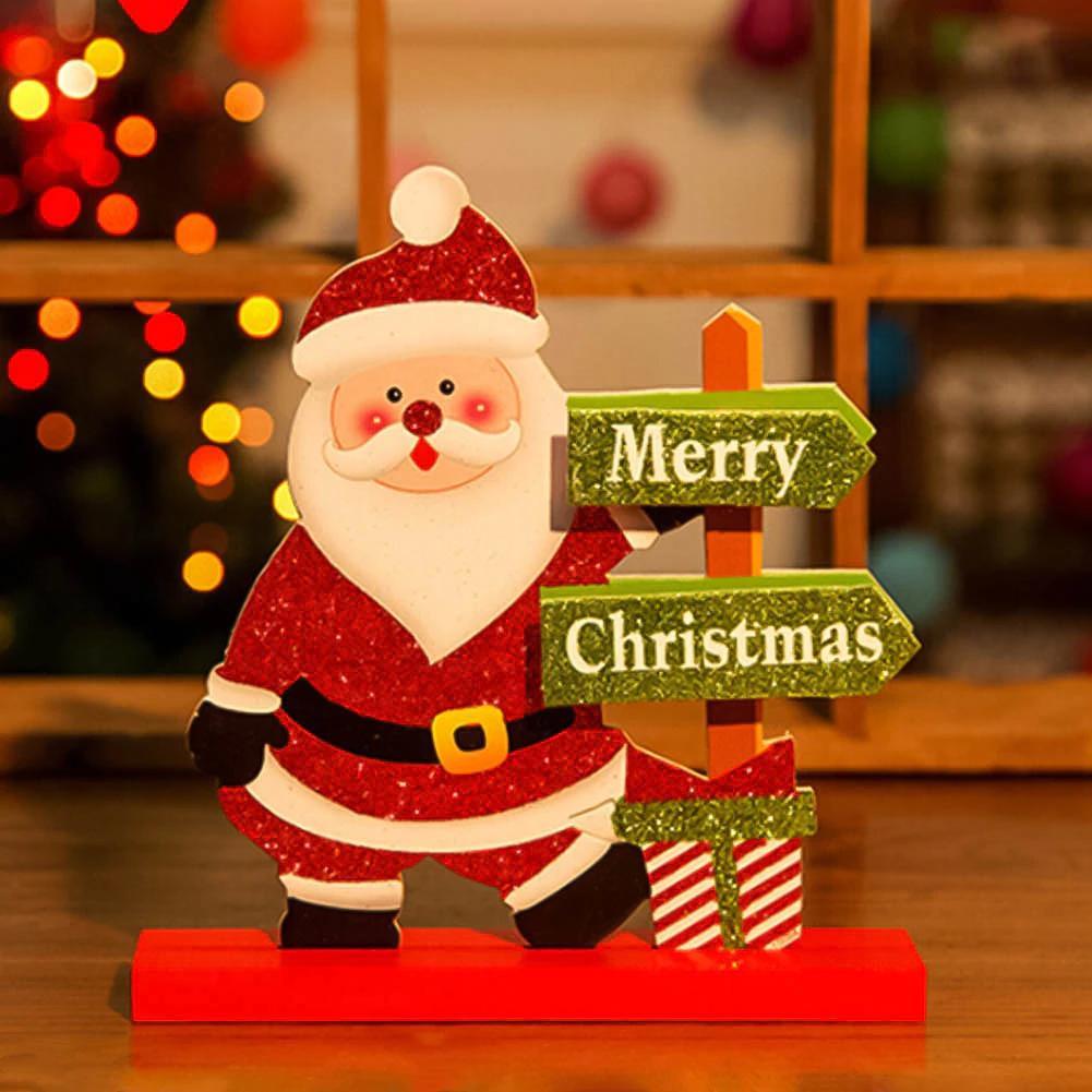 Christmas Santa Claus/Snowman Deer Standing Christmas Wooden ...