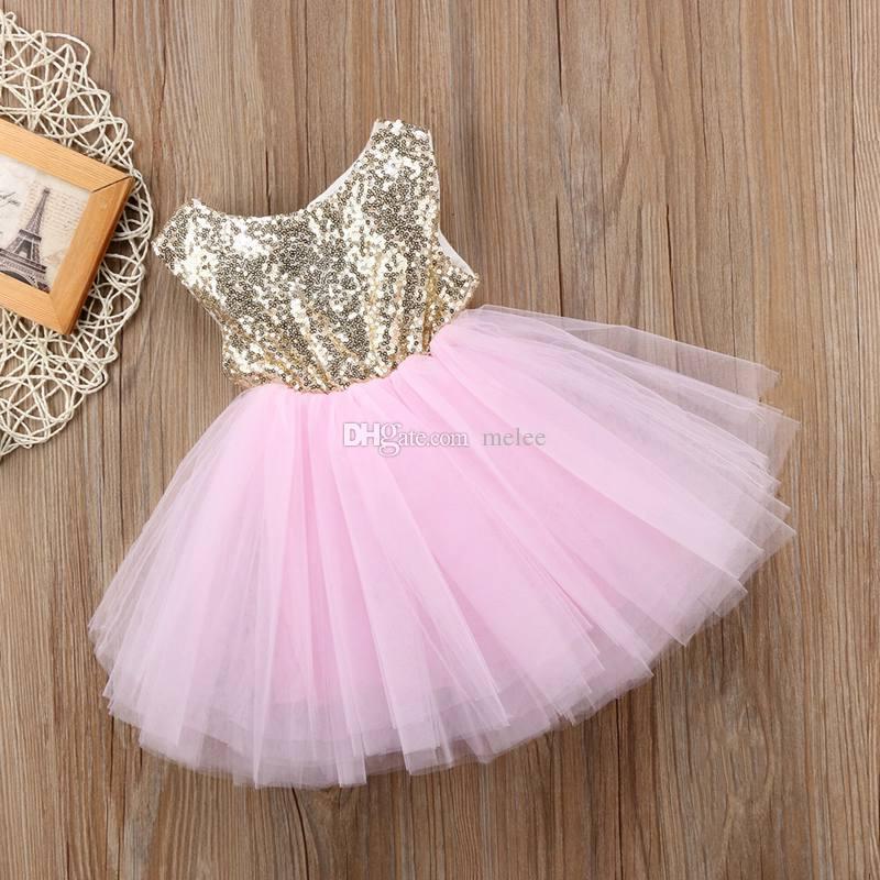 INS Summer new girls sequin gauze tutu dress round neck sleeveless vest party dress bling tutu skirt princess girls party dress red pink