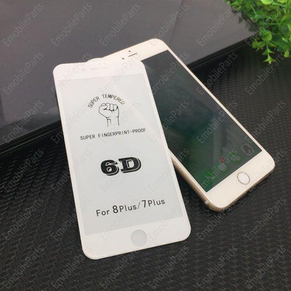 100 UNIDS 3D 4D 5D 6D Protector de Pantalla Curvo 9H Protector de Pantalla de Fibra de Carbono de Vidrio Templado para iPhone X 6 6s 7 8 Plus
