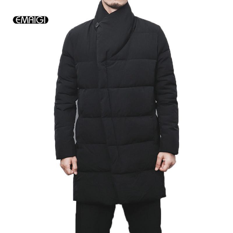 7b33953b439 2019 Men Winter Long Thick Cotton Padded Black Gary Jacket Plus Size ...