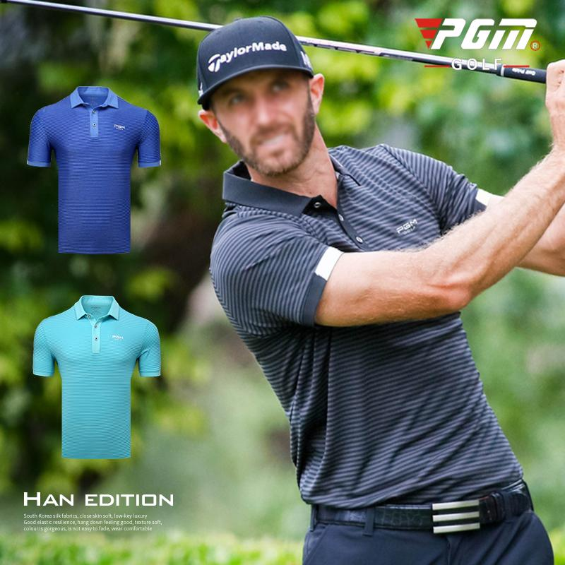 243315a78c1a 2019 2018 New PGM Men S Golf Wear Summer Striped Button Collar Short Sleeve  T Shirt Breathable Moisture Wicking Golf POLO Shirts From Yymq0404