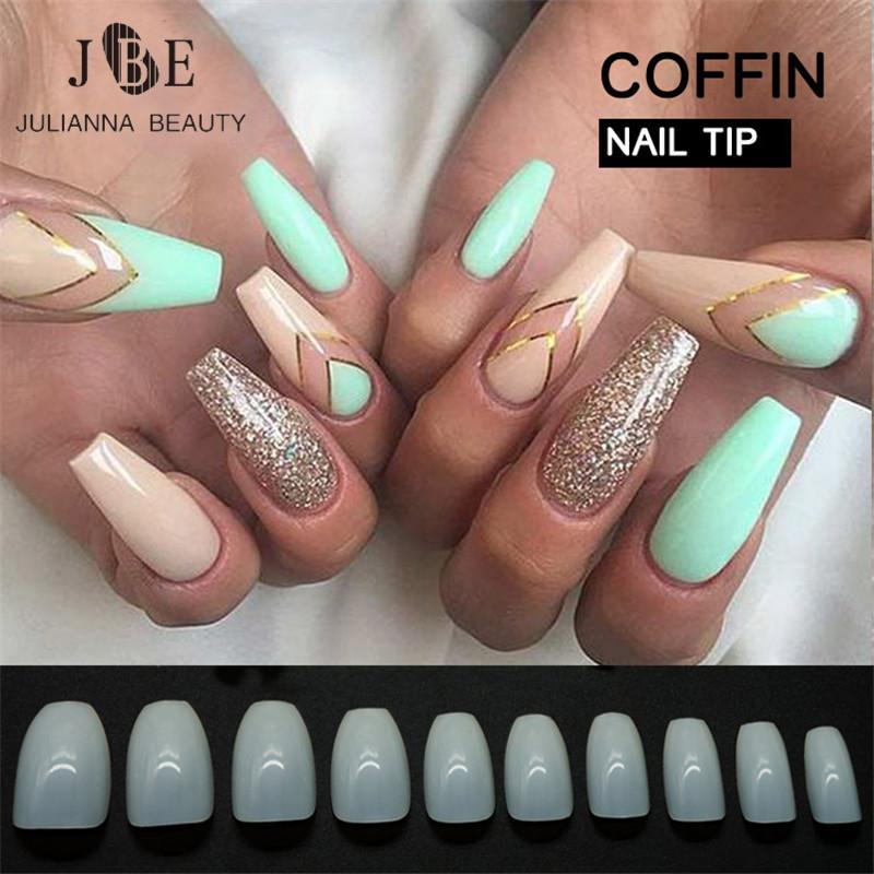 Designer Tips New Design Coffin Tips Long Clear False Nails Abs