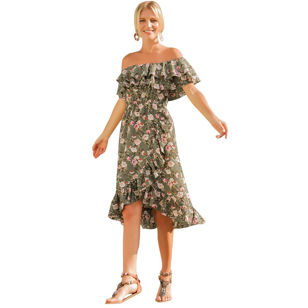 14c82d758e49 Women Summer Beach Dress Floral Print Off Shoulder Ruffle Slash Neck Dress  Cross Asymmetric Midi Elegant Party Dress Beachwear One Shoulder Dresses  Green ...