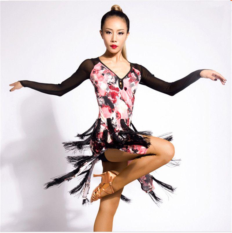 ae2a5d84cbf3 2019 New Women Latin Dance Dress Salsa Tango Cha Cha Ballroom Competition  Practice Dance Dress Long Sleeve Flower Printed Tassel Dress From  Nicole_xiao1989, ...
