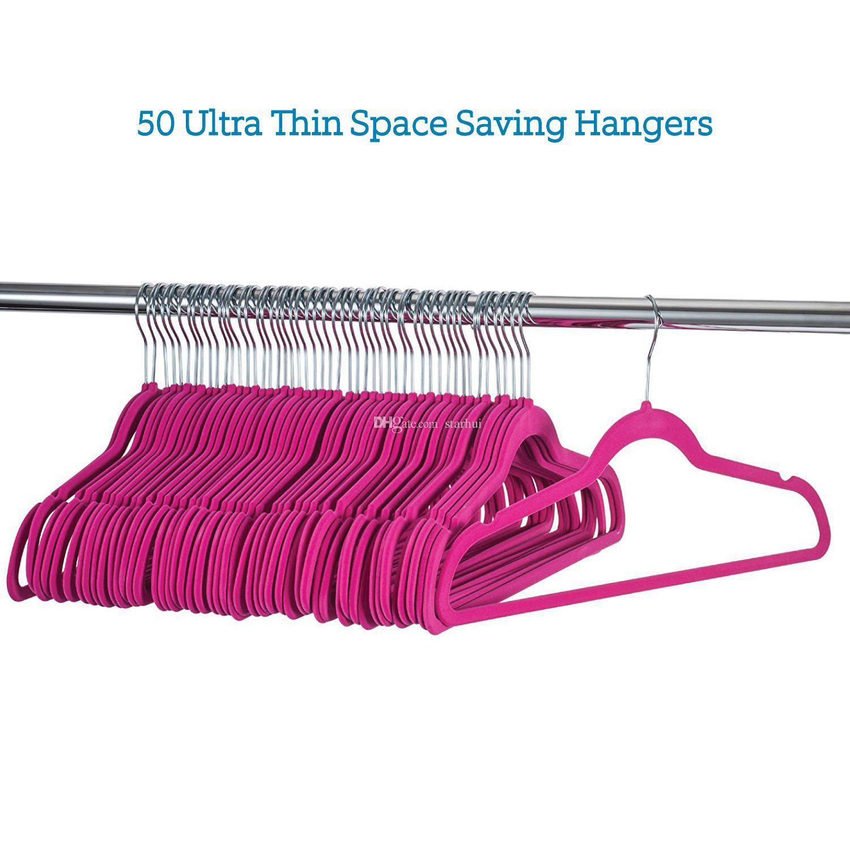 Não-Deslizamento Terno De Veludo Cabides Racks de 360 graus de Rotação Não-Marcação de Poupança de Espaço Cabides Para Pant Bar Vestuário Camisa Terno Roupas WX9-634