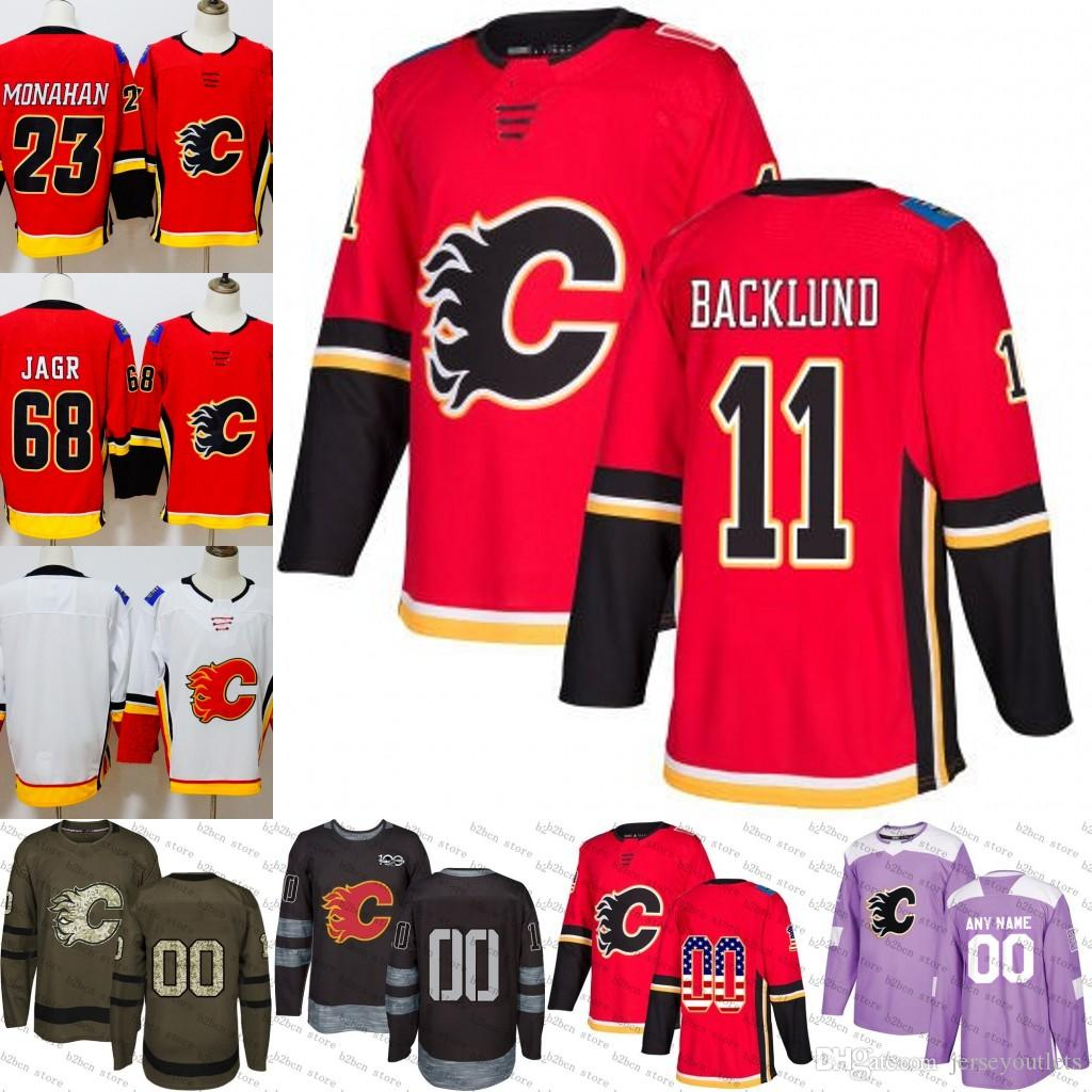 2019 2018 2019  11 Mikael Backlund Calgary Flames Ice Hockey Jersey Purple  Black White Army Green 100th Flat Usa Men Women Youth Size S 3XL From ... 58a78b323