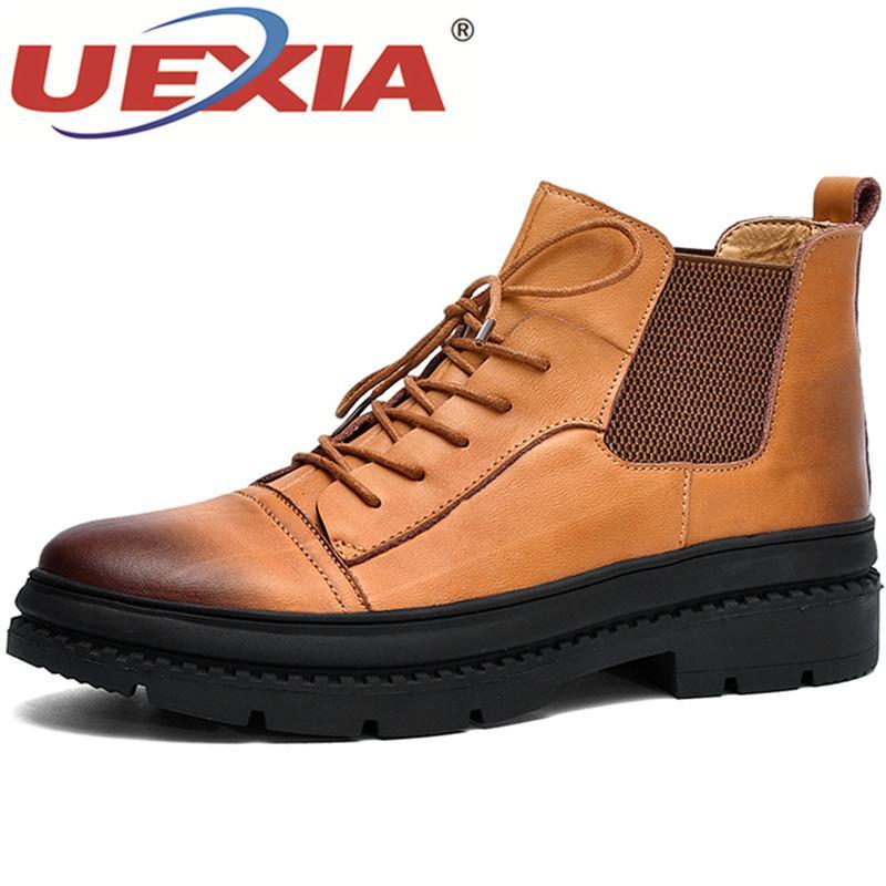 91f72c80b Compre 2019 UEXIA Calzado Botas De Hombre Hechas A Mano Manténgase Abrigado  En Invierno Botines Con Cordones Moda Zapatos Hombre Hombres Vintage De  Alta ...