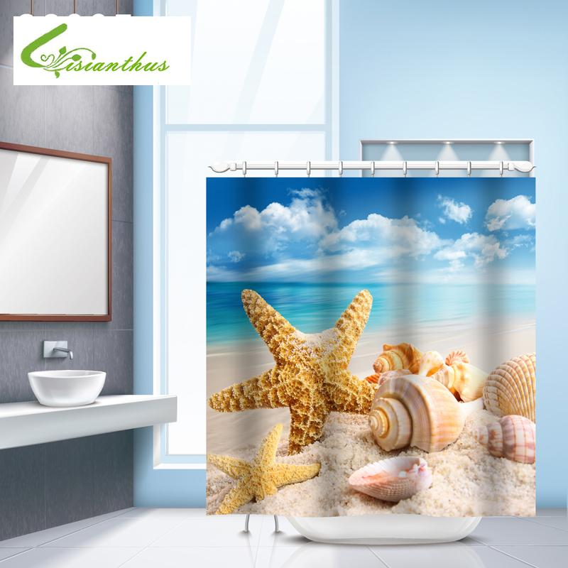 2019 Seascape Sea Beach Printed Shower Curtains Bathroom Curtain Waterproof Fabric Seashell Starfish Products From Caley