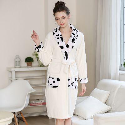Spring Autumn Warm Coral Fleece Couple Robes Family Flannel Nightdress Women & Men Sleepwear Lady Leisure Bathrobe Plus Size 2XL
