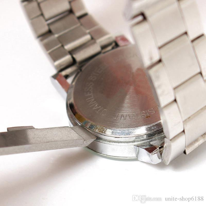 الفولاذ المقاوم للصدأ مزدوجة ليفر ووتش عودة حالة فتاحة صانع الساعاتي أداة إصلاح مزيل فتاحة البطارية سكين رمادي
