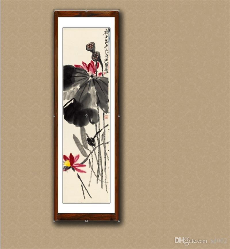 Satın Al çin Peyzaj Boyama Kaligrafi Lotus Mürekkep Yıkama Resim