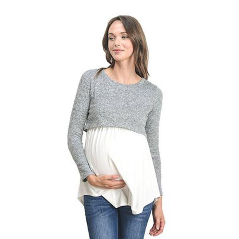 84ac8dae1 Compre Mujer Embarazada Long T Shirts Ropa De Maternidad Premama Casual  Tops Lactancia Tees Mujeres Tallas Grandes Trajes A  27.26 Del  Ouronlinelife ...