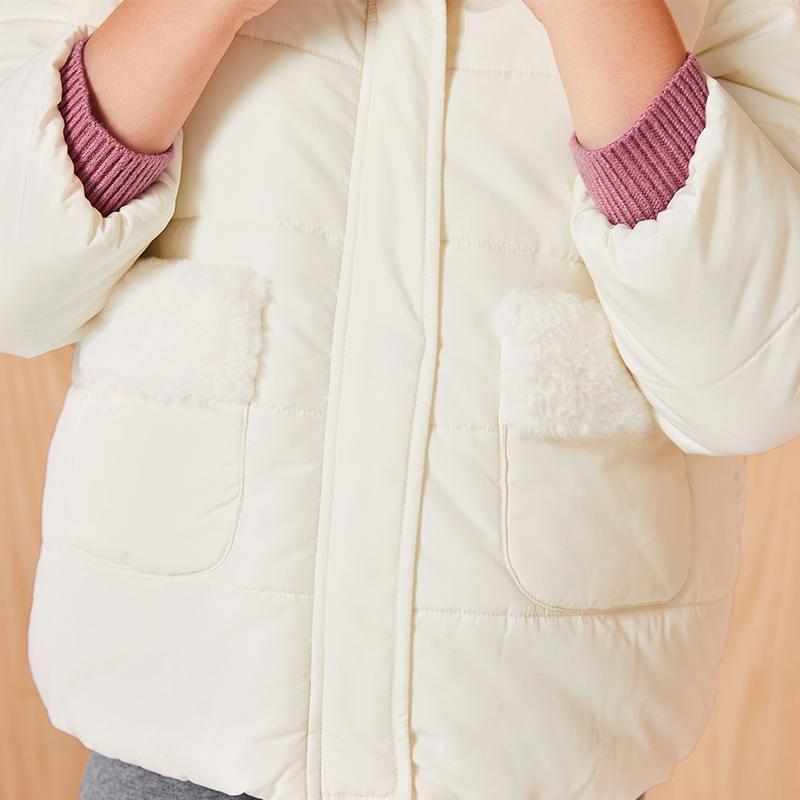 Balabala Ropa para niños Niñas outwear 2017 nuevo invierno cálido algodón Escudo bebé patrón de oreja espesar Ropa con capucha para niña