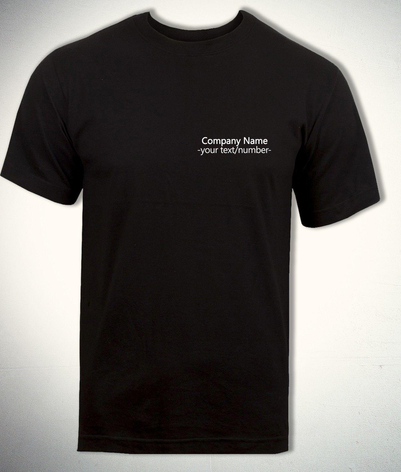 Company Text Name Number T Shirt Custom Personalise Work Mens Black