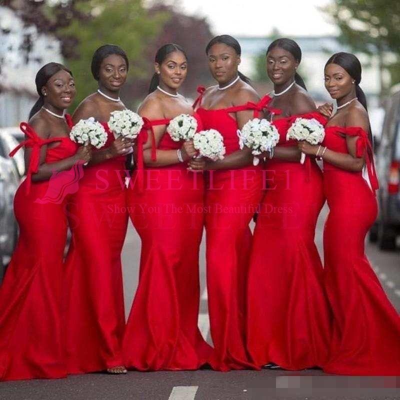 Compre 2019 Vestidos De Dama De Honor Rojos Sudafricanos Longitud Del Piso Más El Tamaño Vestidos De Invitados De Boda Vestidos Largos Formales De