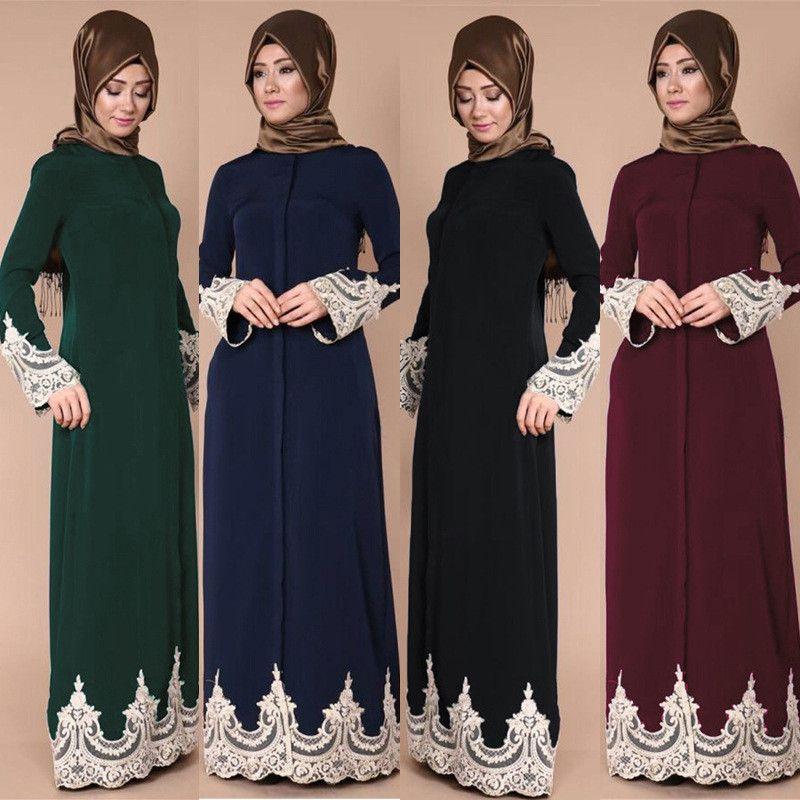 Robes Femmes Islamiques Arabe Femme Islamique Robe Femme Caftan Jilbabs Robe Moyen-Orient Musulmane Abaya