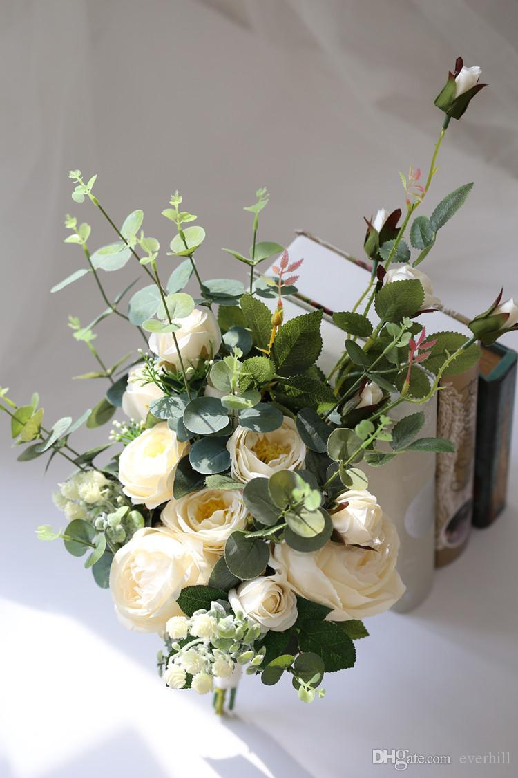Jane Vini Vintage Artificial Bride Flowers Bridal Brooch White Roses Wedding Bouquets Corsage Real Touch Wrist Flower Boutonniere De Mariage