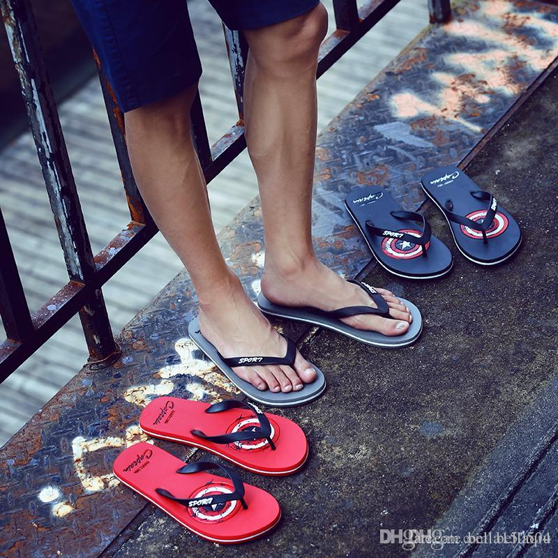 e47c30ec776d Captain America Designer Flip Flops Designer Slippers Shoes Women Mens  Beach Flip Flop Casual Summer Beach Flat Massage Flip Flops Wholesale Black  Boots For ...