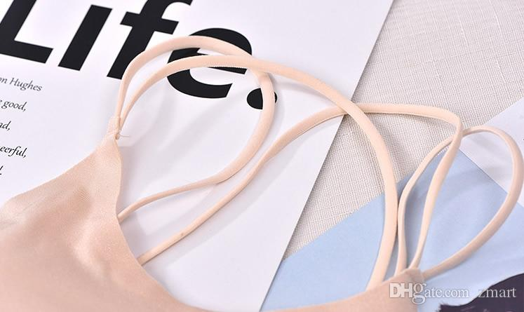 Fashion Women One Piece Viscose Fibre Criss Cross Strap Bottom Back Seamless Wire Free Bra Sport Briefs