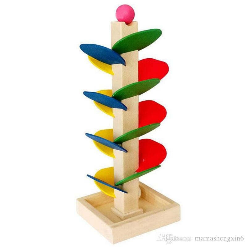 Baby Wooden Tree Blocks Marble Ball Run Track Game Kids Children Intelligence Wooden Toys Creative Ball Tree Game Stitching Desktop Toys