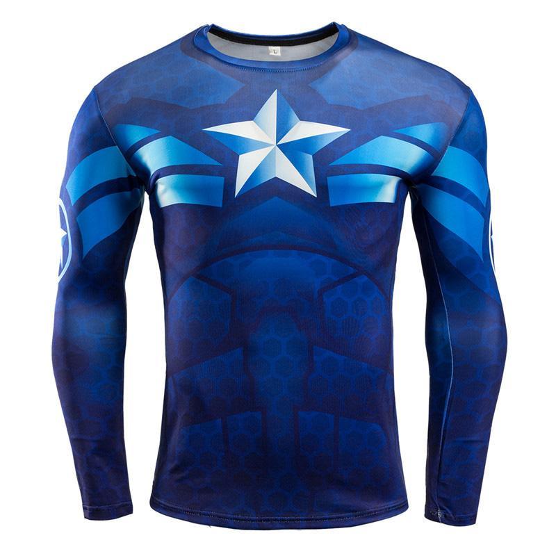 Compre Nova Camisa De Compressão De Fitness Dos Homens De Manga Longa 3d  Superman T Shirt Superhero Capitão América Marca Clothing Marvel Camiseta C  .. 6d46a25850763