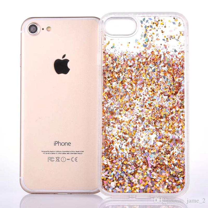 Luxury Dynamic Liquid Glitter Sand Quicksand Star Cases Capa For iphone 6 6S 7 8 Plus SE 5 5S Crystal Clear phone case