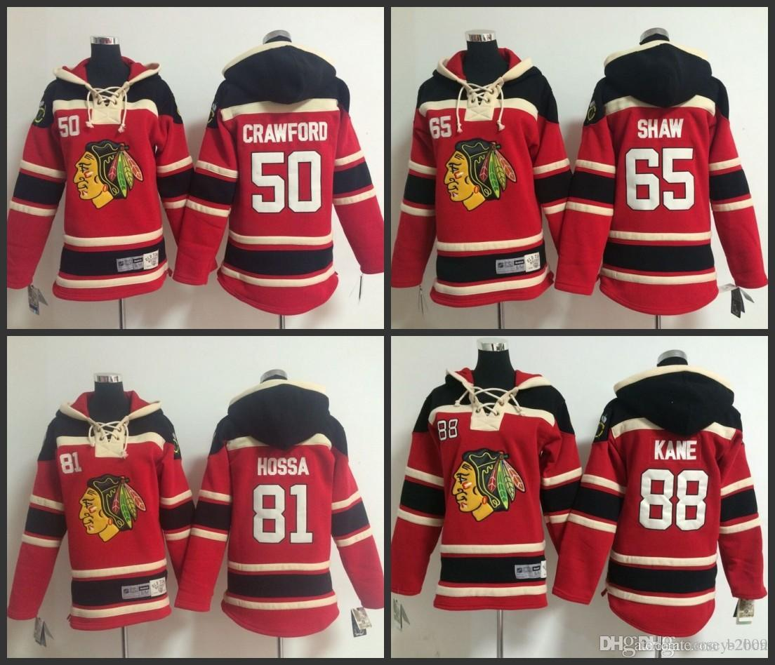2019 Youth Chicago Blackhawks Hooded Jersey 50 Corey Crawford 65 Andrew  Shaw 81 Marian Hossa 88 Patrick Kane Kids Ice Hockey Hoodie Size S XL From  Jersey ... 0d0282955