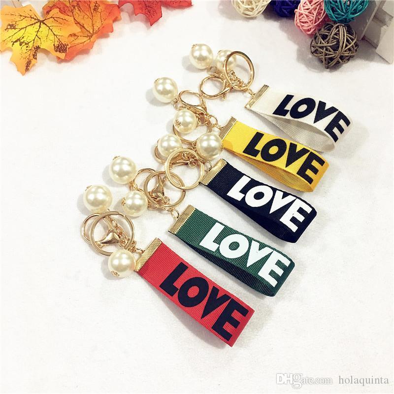 Новый любовь брелок с жемчугом флаг цвет брелок мода брелок для сумки любовник подарок новое прибытие