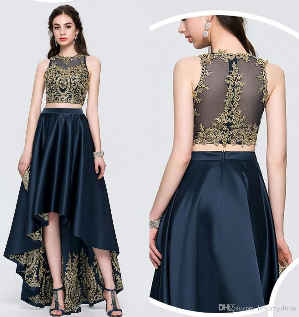 Gold Lace Navy Satin High Low Homecoming Prom Dresses Cheap Two Pieces  Applique Zipper Back Satin Short Front Party Evening Formal Gowns Dress  Sale Dresses ... 8f08b5e4851a