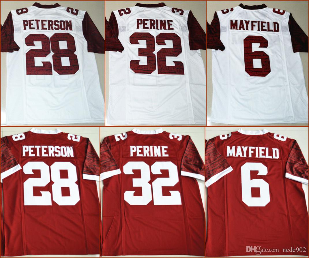 buy popular 530ac 23c46 American Football College Jerseys 28 Adrian Peterson 32 Samaje Perine 6  Baker Mayfield Red College Football Stitched Jerseys S-3XL