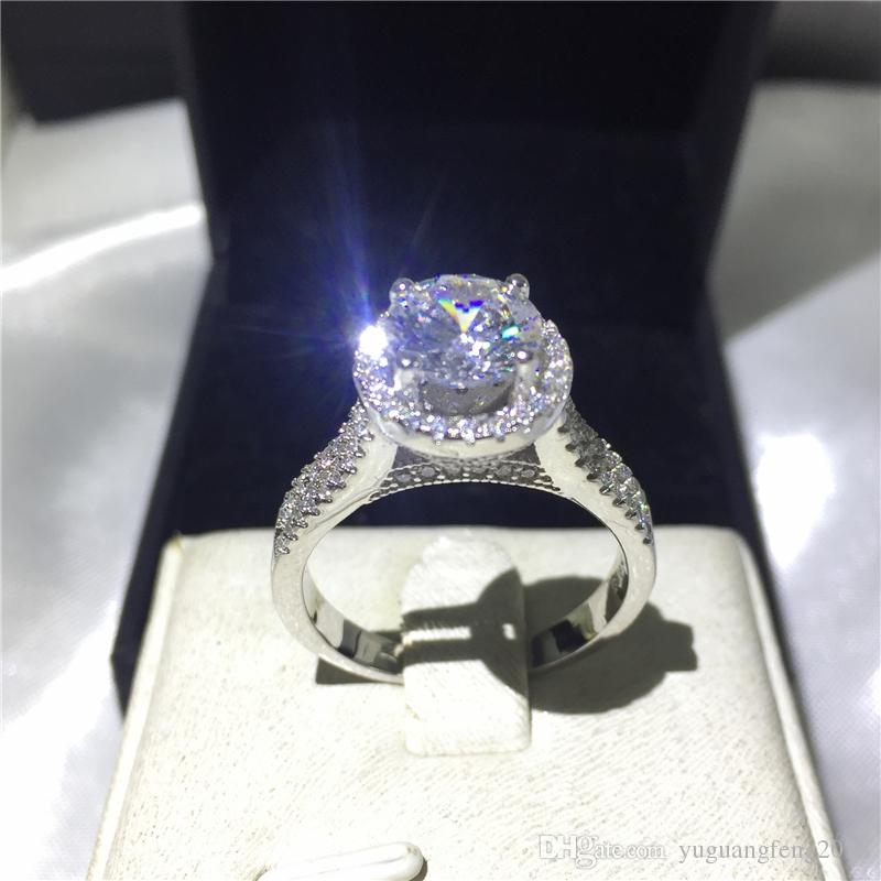 Luxury Female ring 925 Sterling silver Engagement wedding band rings for women 3ct Clear 5A zircon crystal Bijoux