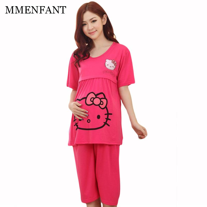 7a551bff8 2019 Short Sleeve Maternity Feeding Clothes 2017 Summer Women Sets Hello  Kitty Vestidos Maternity Dresses Pregnancy Clothes From Breenca, $26.27 |  DHgate.