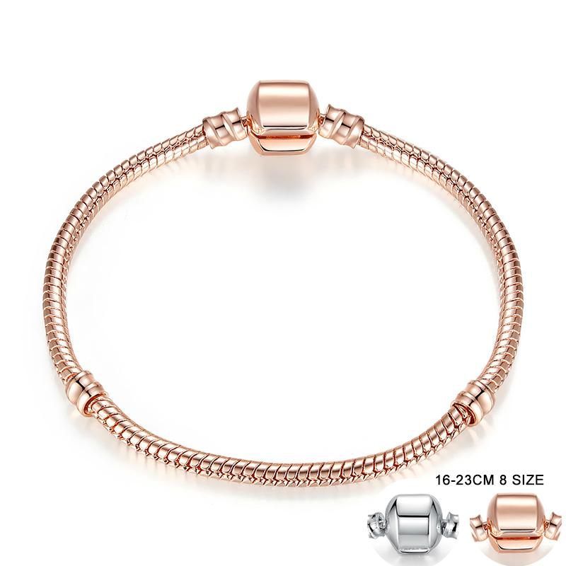Rose Gold Color & Silver Snake Chain Bracelets DIY Bracelet Jewelry 16CM-23CM 8 Size Choice PA9007