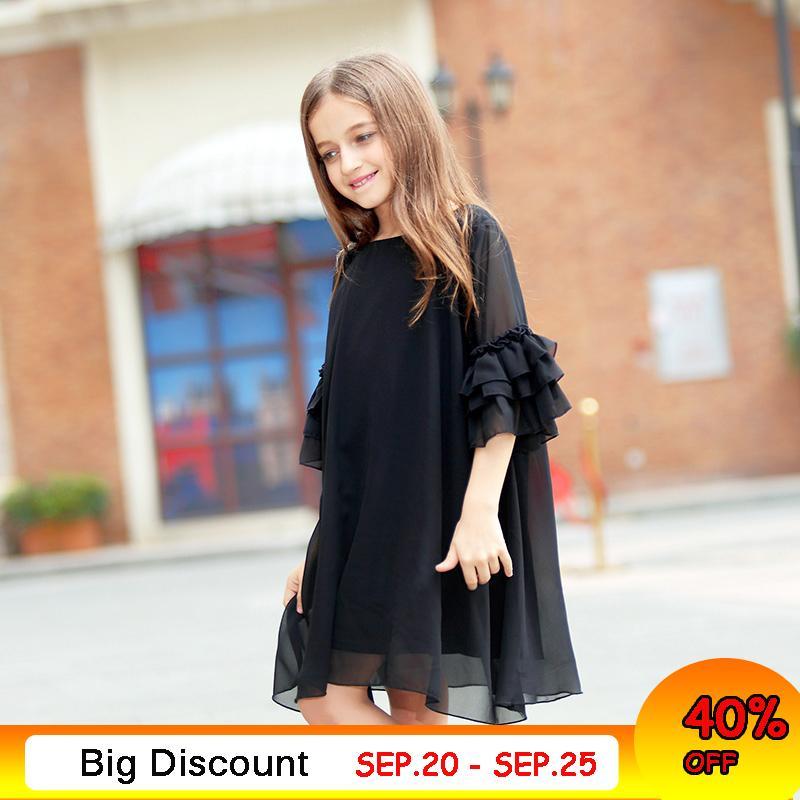 9c2122569 Vestido de niña grande Edad 10 12 años Vestido de gasa de verano Vestido  negro de manga angosta para niña talla 6 7 8 9 Ropa para niñas ...