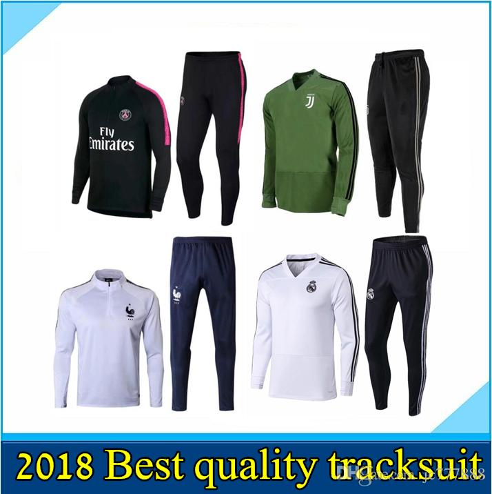 3415d320f Cheap Real Madrid RONALDO Jacket JUVENTUS Soccer Tracksuit KIT 2018 2019  MBAPPE ISCO KROOS DYBALA BUFFON Football Training Suit Maillot De PSG