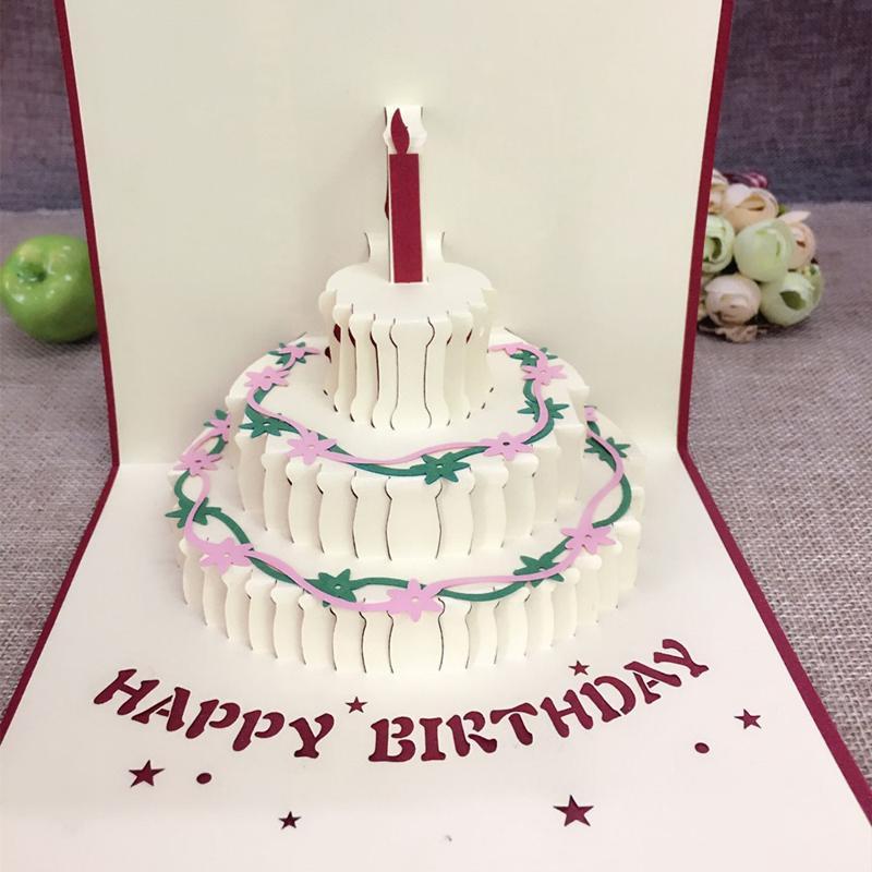 Sample Happy Birthday Postcard Greeting Gift Cards Kraft Kirigami 3d