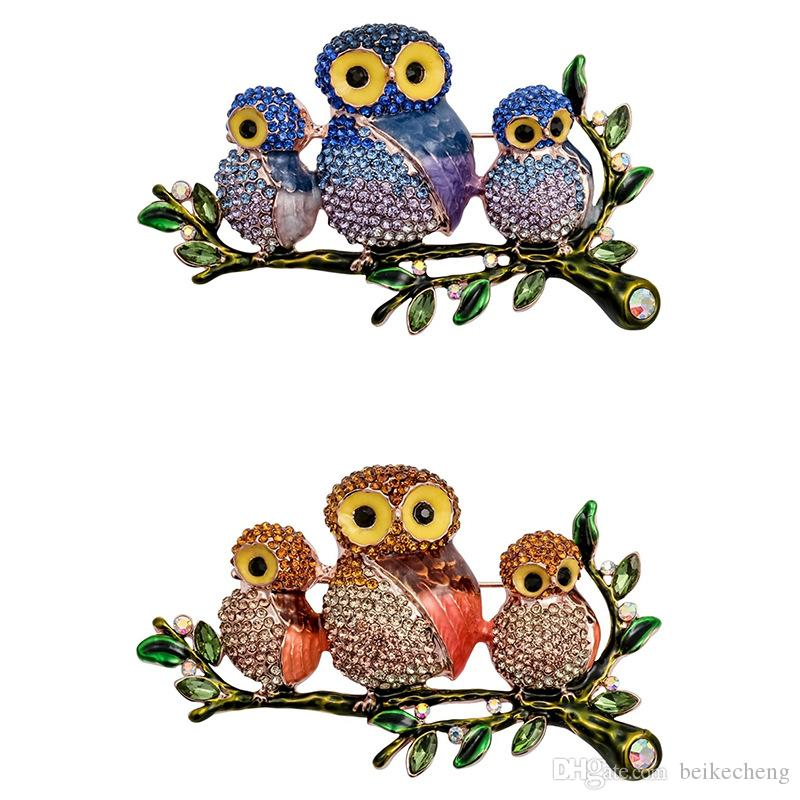 Fashion Jewelry alloy Europe and America three owl brooch Drop oil with  rhinestone owl brooch