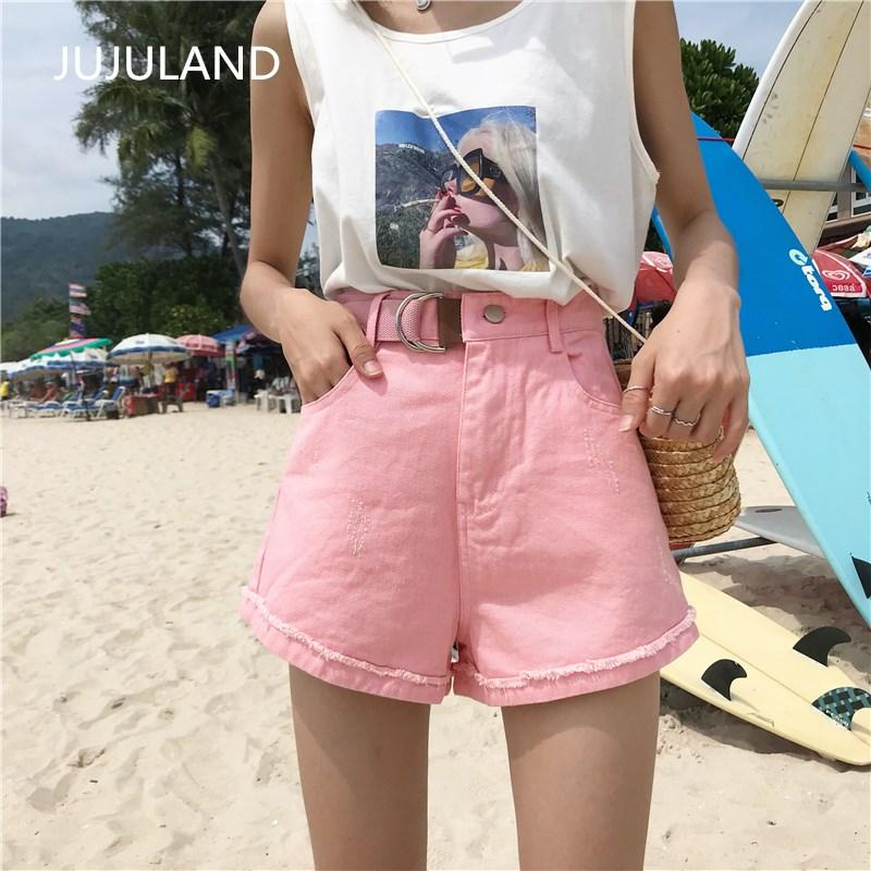 4b3e53e25044 2019 JUJULAND Women Girls Ladies Denim Shorts Light Wash Ripped Vintage  Casual High Waisted Short Mini Jeans Hole With Sashes Summer From  Qingxin13