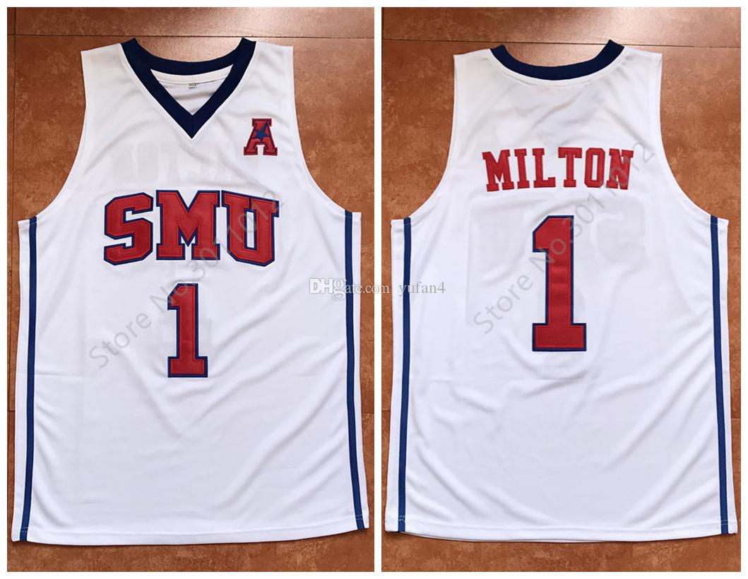 the best attitude b558f 9f7e6 #1 Shake Milton SMU Mustangs Retro Classic Basketball Jersey Mens Stitched  Custom Number and name Jerseys