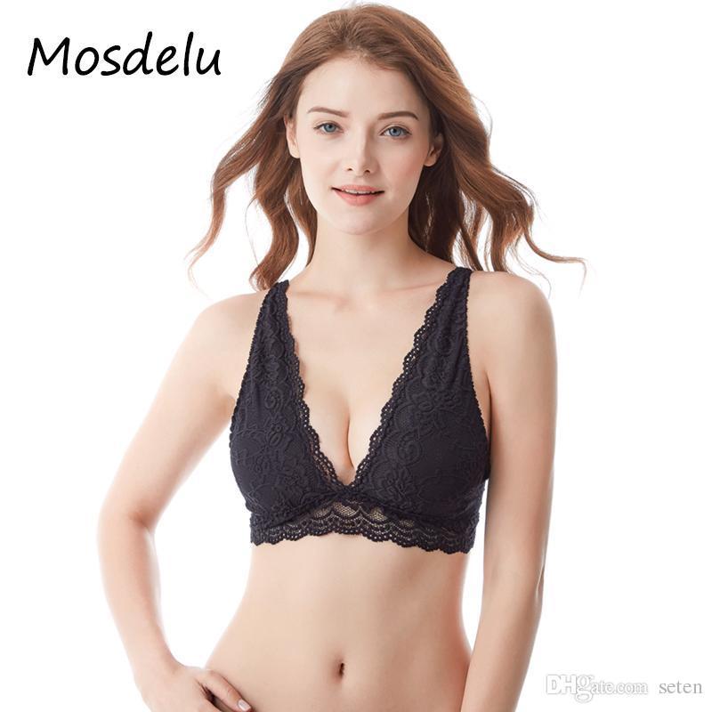 ce9c745dad4 2019 Mosdelu Sheer Lace Bralette Crop Top Mesh Bras For Women Push Up Lace  Bra Top Wireless Sexy Lingerie Brassiere Women Underwear From Seten