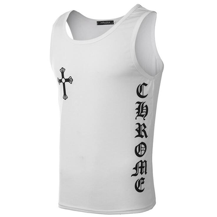 46f1faac48f Cross Printing Summer New Fashion T-shirt Men Sleeveless Black White ...