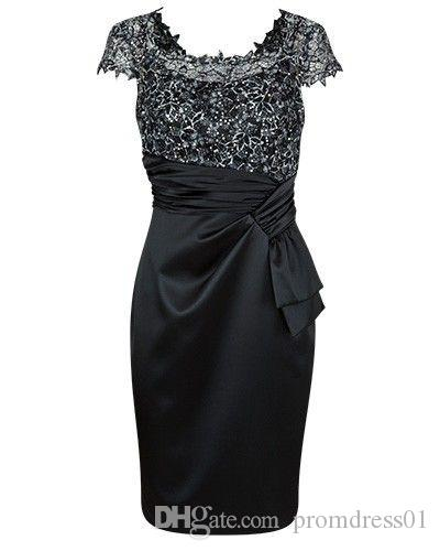 Black Cap Sleeves Sheath Knee Length Mother of the Bride Dresses with Lace for Wedding Party Mother of the groom Dresses
