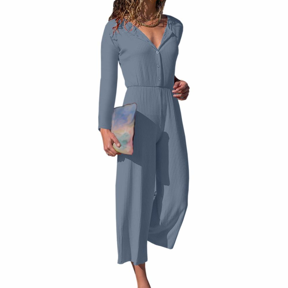 6ff80aacfeb 2019 Office Knitted Long Sleeve Jumpsuit Winter Casual Lady V Neck Romper  Button Sashes Autumn Overall Wide Leg Pants Plus Size GV658 From Worsted