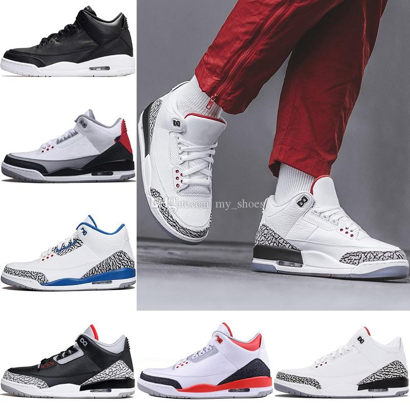 cheap for discount bc72b e2ac4 2018 New 3 black cement 3s white cement 3 OG True Blue 3 Men Basketball  Shoes 3s wolf grey Sports sneakers mens trainer