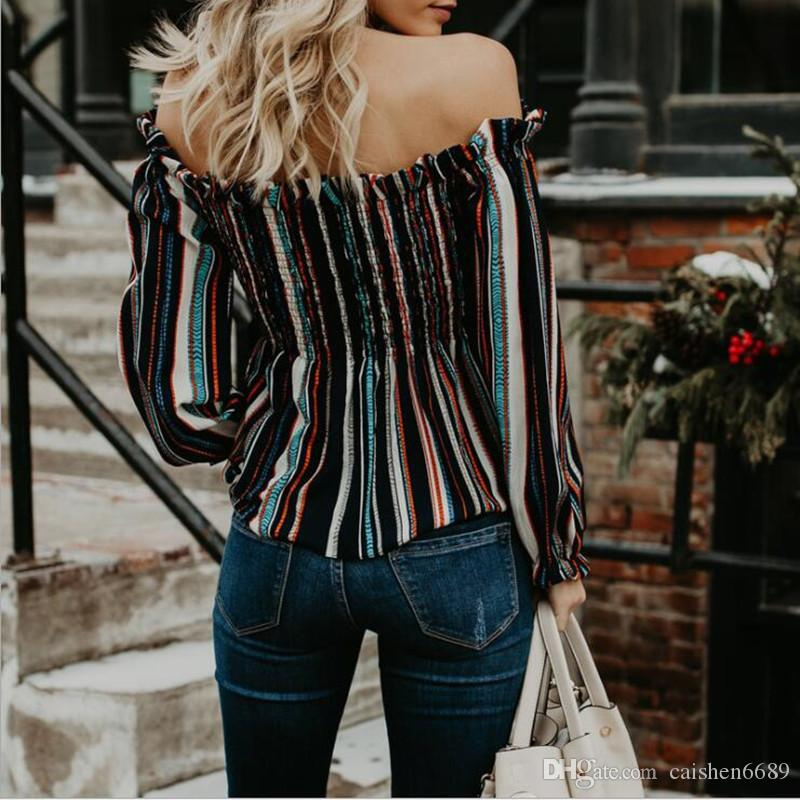 High quality ladies clothing Full colour stripe Off Shoulder sexy T-shirt long sleeve shirt women tops loose summer casual shirt