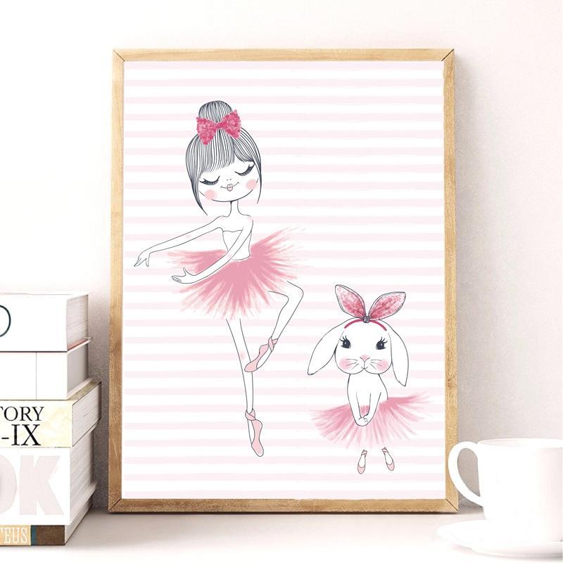 Satın Al Resimler Baskılar Karikatür Bale Kız Tavşan Ile Tuval